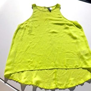 DIVIDED Bright lime green tank